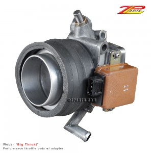 "Weber ""Big Throat"" performance throttle body for 280Z-ZX.  Rubber collar and outer metal ring tube may be somekind of adapter to either connect a turbo forced air induction system or to connect to a custom air filter housing. History of unit is unknown.  It was acquired in a box of other odd ball, very dirty parts from source long forgotten."